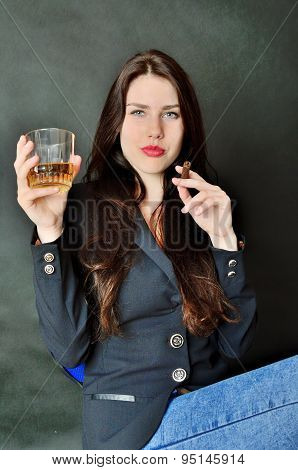 Girl With Cigar And Whisky