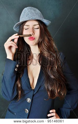 Female With Hat And Cigar