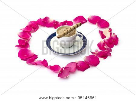 The Lobes Of Roses Which Are Laid Out And Cup Of Coffee, Subject Love
