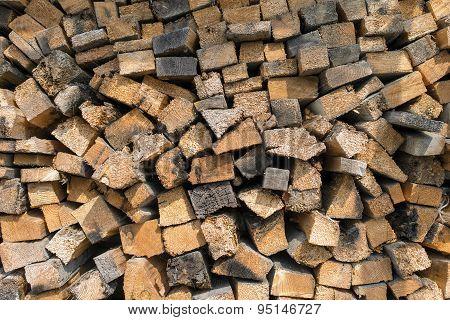 Many Dry Chopped Firewood Logs. Horizontal.
