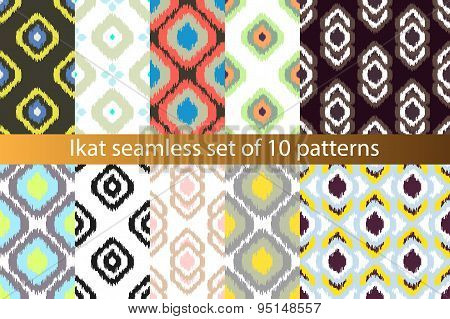 Ikat vector seamless pattern set. Abstract geometric background for fabric, print or wrapping paper.