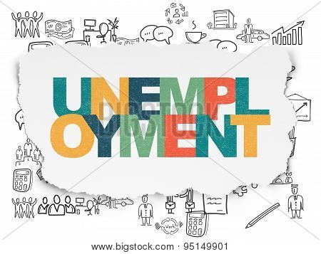 Business concept: Unemployment on Torn Paper background