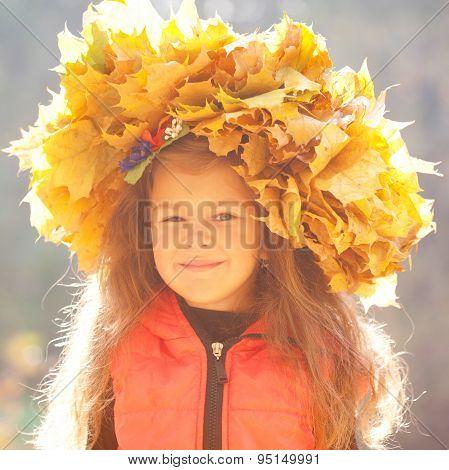 Autumn Portrait Of Little Girl