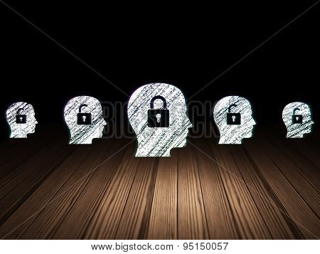 Business concept: head with padlock icon in grunge dark room