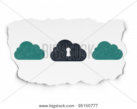 Cloud technology concept: cloud with keyhole icon on Torn Paper