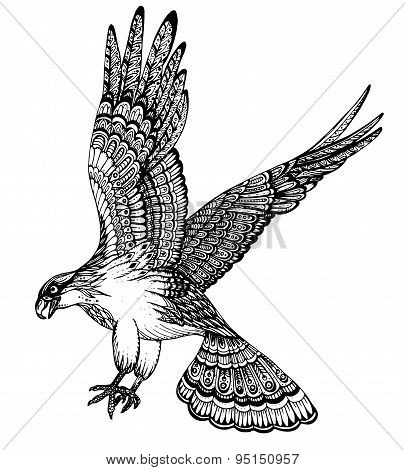 Vector Hand Drawn Illustration Of Decorative Eagle