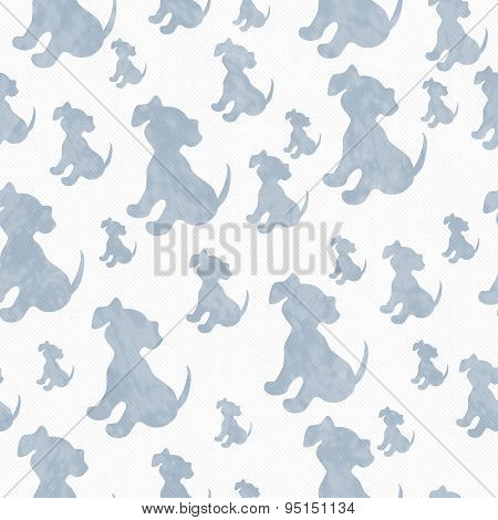 Blue And White Puppy Dog Tile Pattern Repeat Background