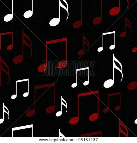 Red, Black And White Music Notes Tile Pattern Repeat Background