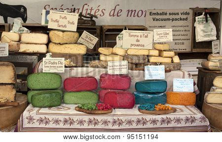Colorful French Cheese At The Market In Arles