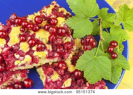 Domestic currant dessert, made from freshly-picked currants. Homemade sweet dessert on the plate.