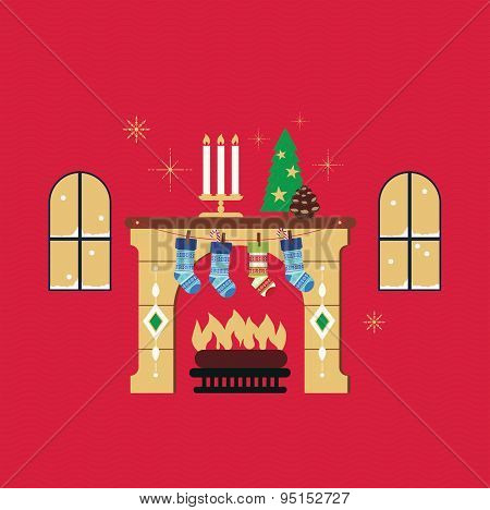 Christmas fireplace red background vector