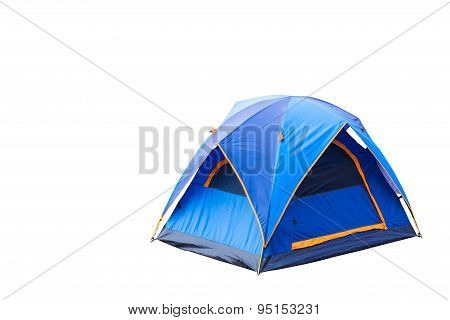 Isolated Blue Dome Tent