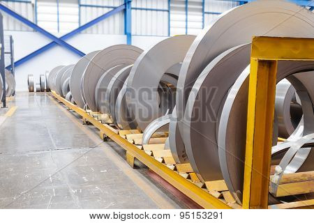 Rolls Of Metal Sheet Waiting For Assembly
