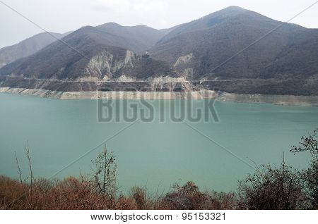 Zhinvali reservoir on Aragvi river. Georgia