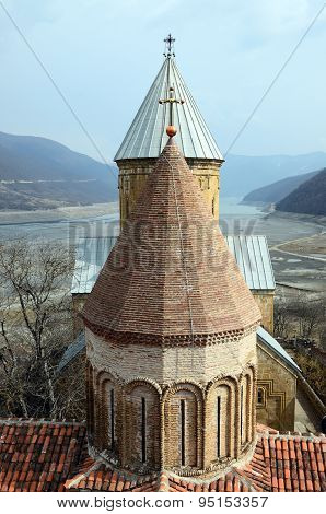 Georgia,Zhinvali-March,1 2015:Domes of Saviour Charch and Assumption Churche of Ananuri Castle
