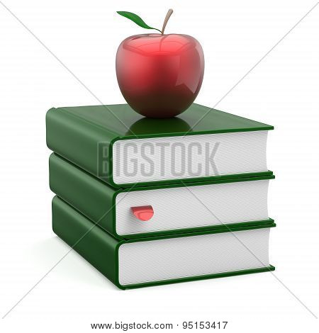 Books Textbook Stack Green Covers Blank Bookmark Red Apple