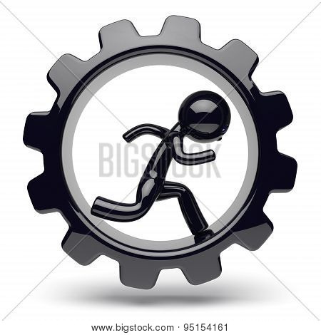 Runner Man Character Gearwheel Gear Wheel Businessman