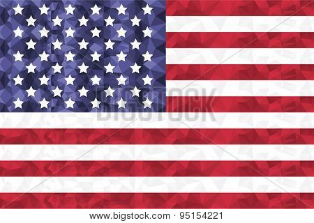 American Flag In Poly Art  Design