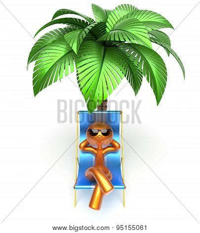 Man Character Relaxing Deck Chair Palm Tree Chilling Beach