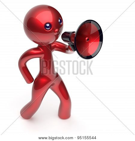 Man Promotion Speaking Megaphone Character Stylized Icon