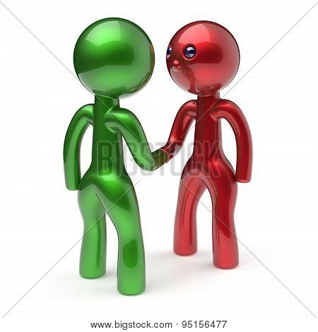 Handshake Cartoon Characters Two Men Shaking Hand Hello