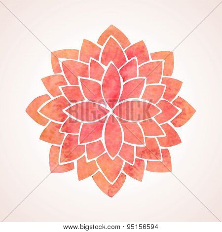 Watercolor Red Flower Pattern. Mandala