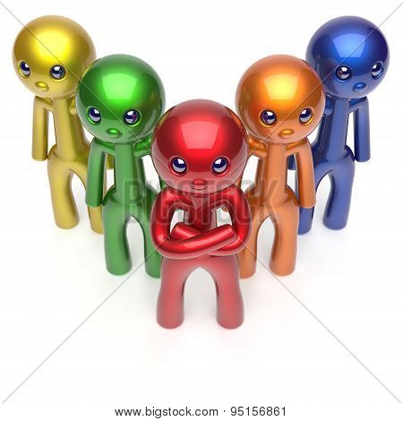 Teamwork Characters Stylized Men Crowd Busines Leadership