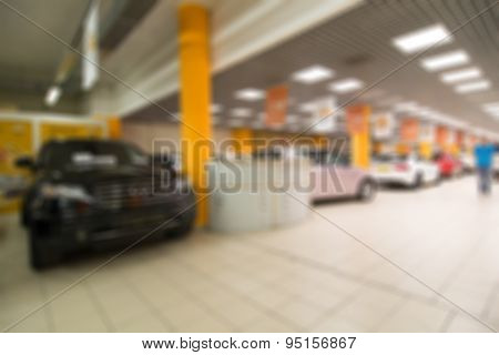 Car auto dealership themed blur background