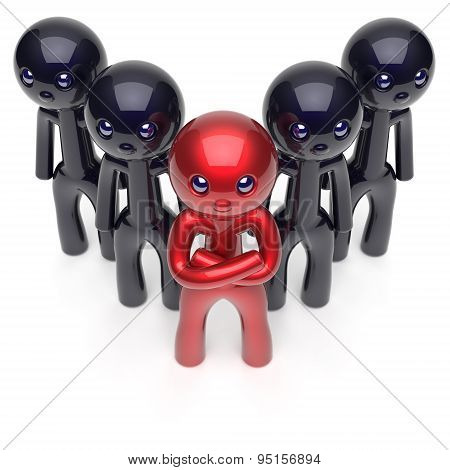 Leadership Stylized Character Red Teamwork Men Crowd Black