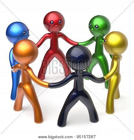 Teamwork Men Circle People Social Network Individuality Icon