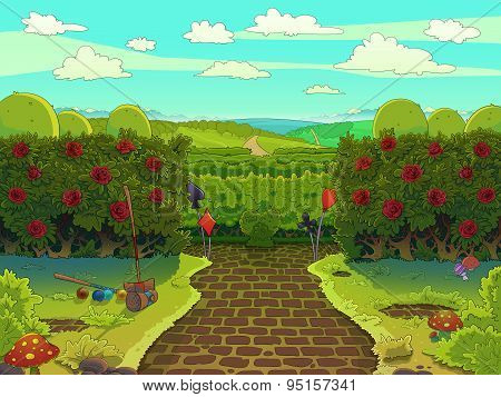 Green Garden With Red Roses, Croquet Court.