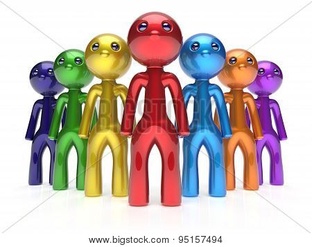Men Characters Stylized Crowd Teamwork Leadership People
