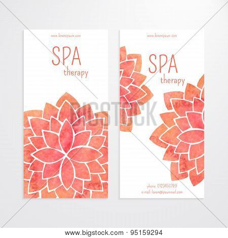 Vector Templates Of Banners With Watercolor Red Lotus Flower Mandala