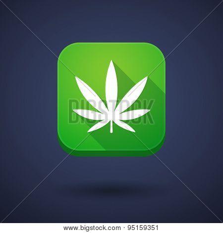 App Button With A Marijuana Leaf
