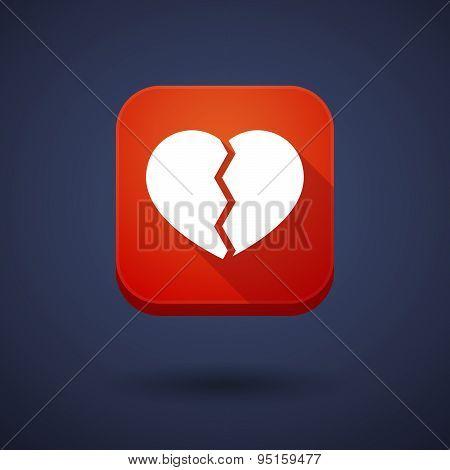 App Button With A Broken Heart