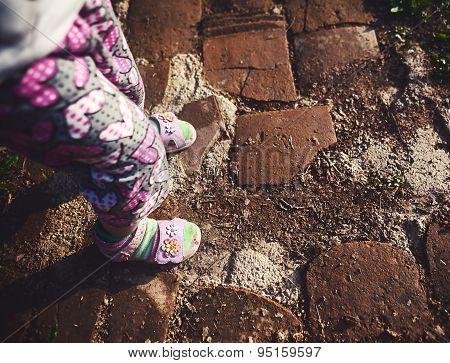 Baby Girl Legs On Road