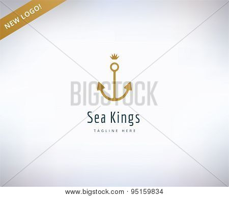 Anchor vector logo icon. Sea, vintage or sailor and sea symbol. Stocks design elements.