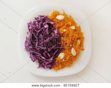 Carrot And Cabbage Salads.