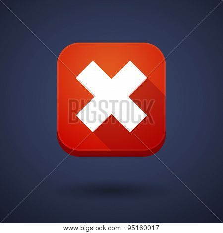 App Button With An X Sign