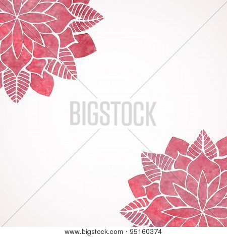 Watercolor Pink Lace Floral Patterns On White Background. Vector
