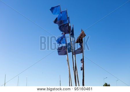 Close Up Of Flags On Fisherman Boat