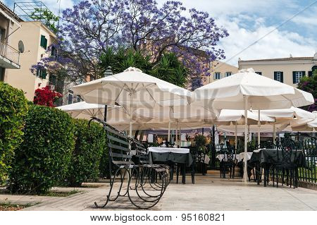 mediterranean cafe with flowers