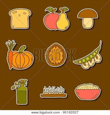 Set of modern stickers in hand drawn style on vegan food theme