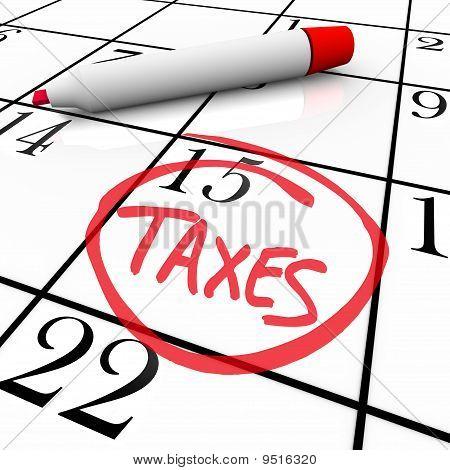 Calendario - impuestos al día en un círculo