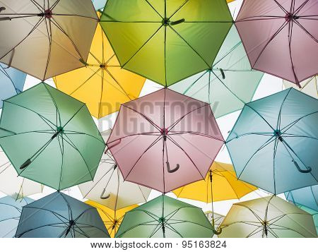 Background of Multi colorful umbrella decoration outdoor.