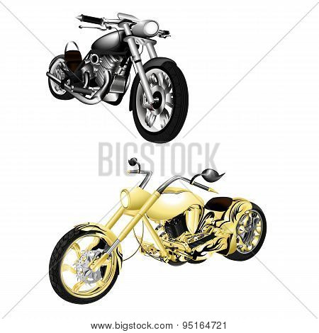 Motorbike, Chopper Isolated Objects