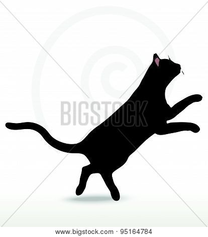 Vector Image - Cat Silhouette In Jumping Pose