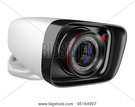Modern Security Camera Isolated On White Background. 3D Image