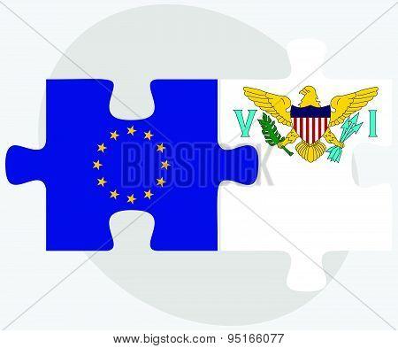 European Union And Virgin Islands (u.s.) Flags