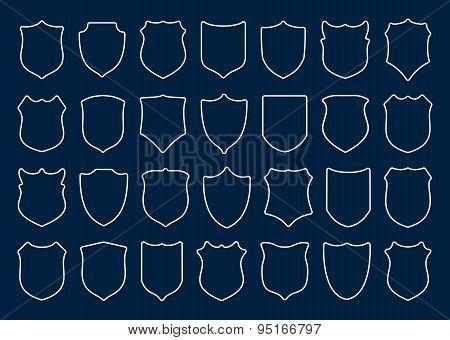 Large set of white shields on blue background